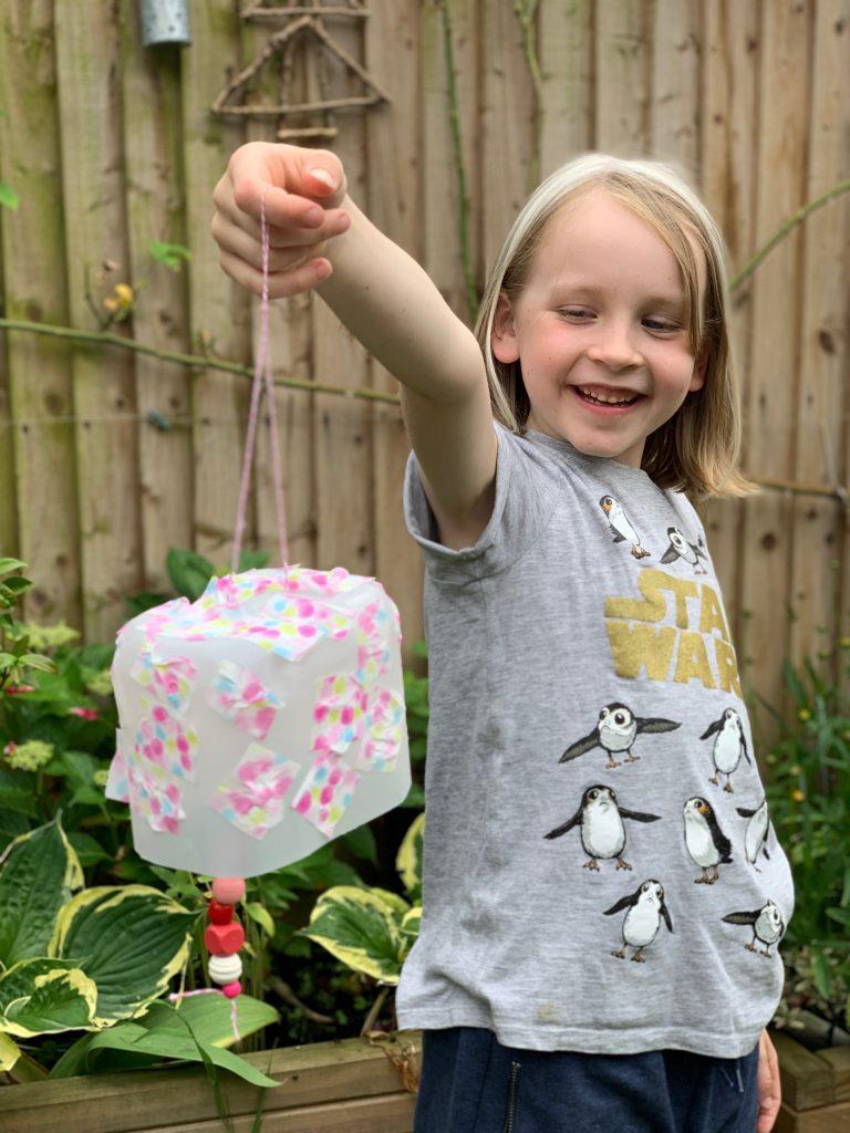 recycled milk carton lantern